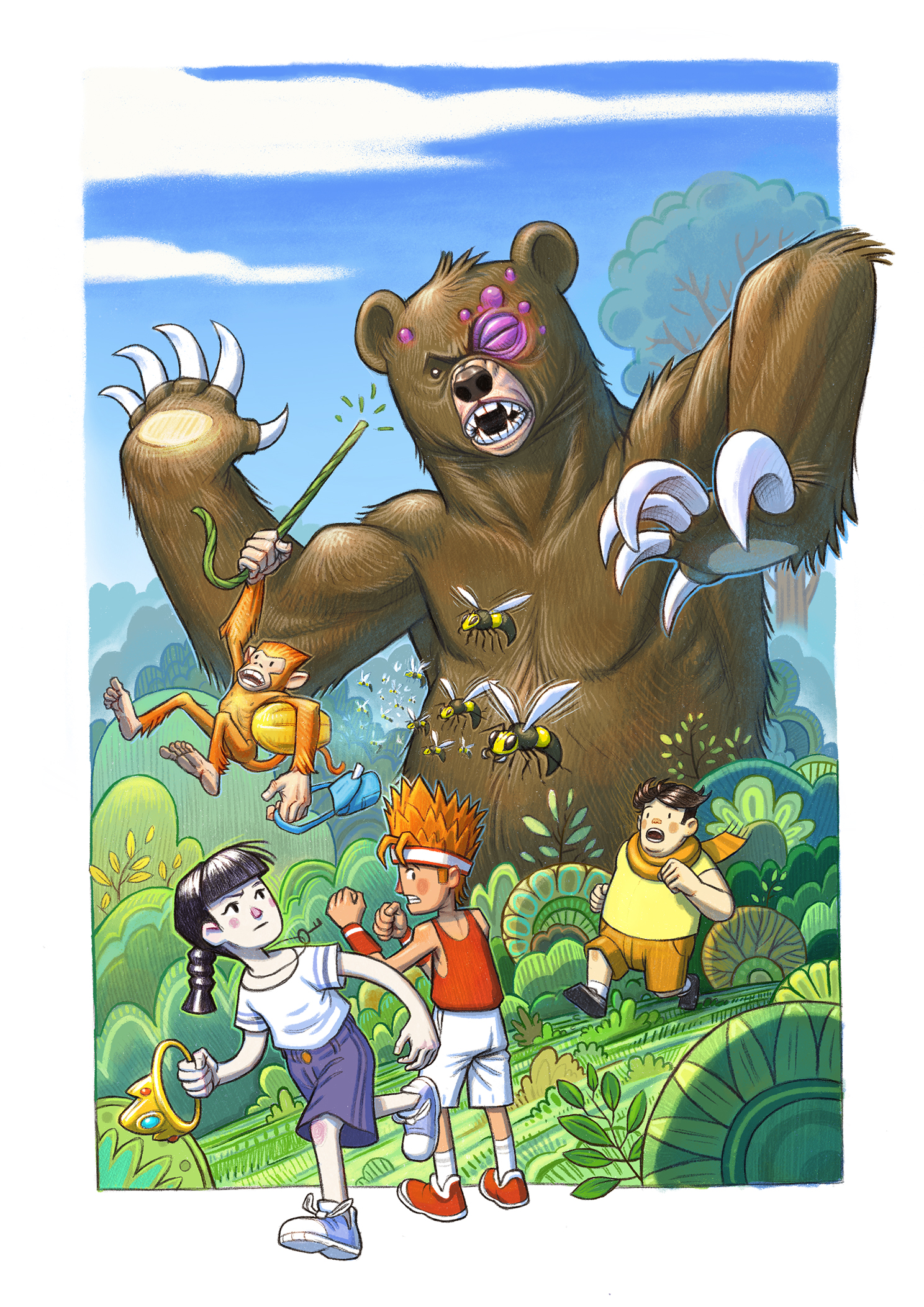 cover_forest_adventure_monhey_bear_bee_illustration